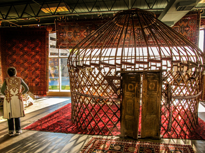 Shaver-Ramsey antique yurt with model for scale